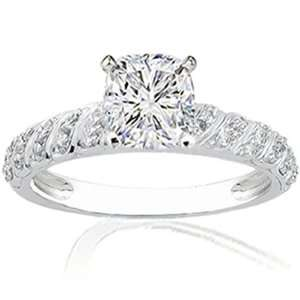 65 Ct Cushion Ideal Cut Diamond Vintage Engagement Ring Pave 14K VVS2