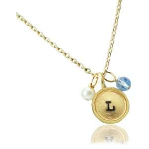 Lucky Feather Letter Coin Charm Necklace   Initial L