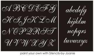 Alphabet STENCIL 3 Caps LC Set Fancy French Script Decor Shabby