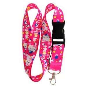 Hello Kitty Beanie Baby Pink Bunny Lanyard Key Chain