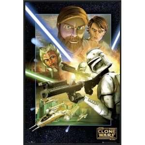Star Wars Clone Wars Poster FRAMED Jedi Battle FULL SIZE