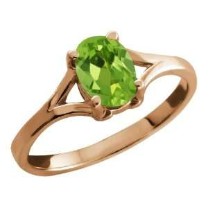 0.80 Ct Oval Green Peridot Rose Gold Plated Silver Ring