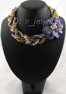 Pearl jade amethyst crystal flower necklace/earring VJ