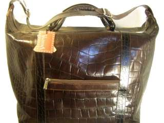 VALENTINA ITALY Brown Leather NEW Travel Work Bag