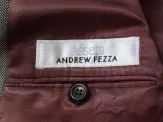 Mens 46R ANDREW FEZZA 3 Button Wool Sport Coat Blazer Gray & Black