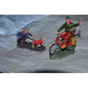 Village Accessory People Paper Boy on Bike and Boy Chasing Dog. Unit 9