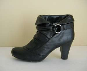 Steve Madden Girl Womens Black Leather Ankle Bootie Boots 9 M