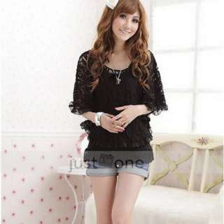 Fashion Women Lace Top Shirt Cover Up Blouse Vest 2in1