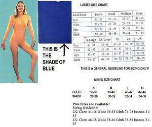 ADULT UNITARD ROYAL BLUE LADIES EX LARGE FULL BODY Suit