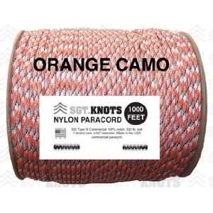 SGT KNOTS Paracord   Orange Camo   1,000 Feet: Sports