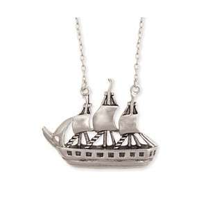 Silver Metal Pirate Ship Necklace Fashion Jewelry by Zad