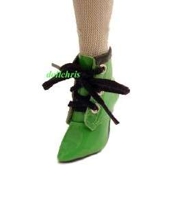 BOOTS for Ellowyne Wilde Tonner Cami Tyler Dolls Short Laced Green