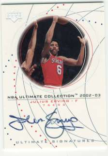 2002 03 UPPER DECK JULIUS ERVING AUTOGRAPH AUTO   76ERS