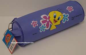 TWEETY BIRD LOONEY TUNES Round Pencil Case / Cosmetic Bag Pouch New #P