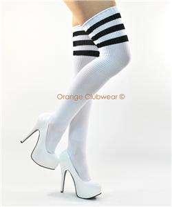 Athletic Ribbed Thigh High Soccer Tube Socks Stripes
