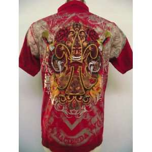 ED HARDY MENS TATTOO TWO SKULL POLO SHIRT PLATINUM RED Size (Mens) XL