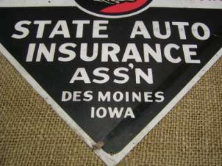 RARE Vintage State Auto Insurance Sign Antique Old Iowa