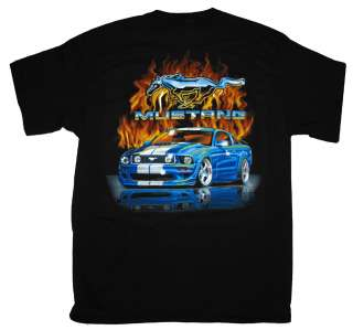 Ford Mustang Pony Logo Flames Automobile Car T Shirt Tee