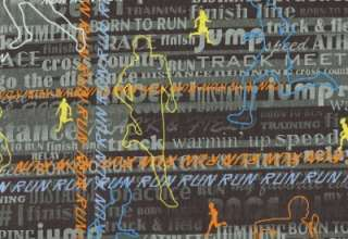 TRACK & FIELD RUNNING CROSS COUNTRY WORDS Cotton Fabric BTY Quilting