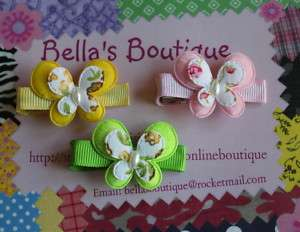 Set 3 Butterfly Baby Boutique HAIR Bow clips
