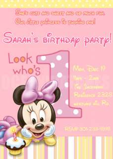 BABY MICKEY MOUSE 1ST PERSONALIZED BIRTHDAY PARTY PHOTO INVITATIONS