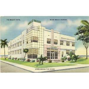 1940s Vintage Postcard   The Regent Hotel   Miami Beach