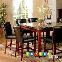 9PC Marble Top Dining Room Set Table Counter Bar Stool