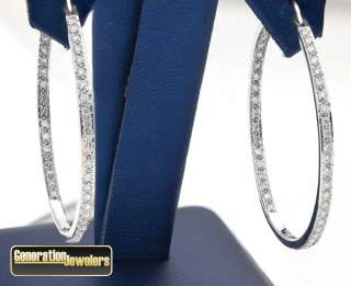 Stunning Ladies 14K white gold Diamond Hoop Earrings