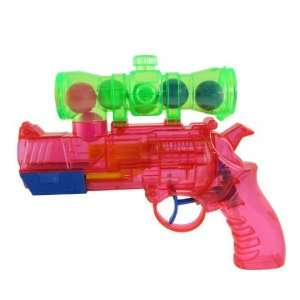 Red Plastic Water Squirt Pistol Gun Toy + 6 Balls + 3 Bowlings Baby