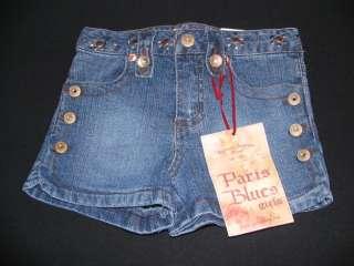 Paris Blues Stretch Jean Button Shorts Girls 4 NWT