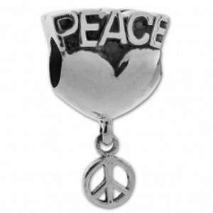 Biagi Sterling Silver Peace Heart Dangle Bead Charm Biagi Jewelry