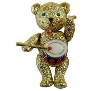 Bear Pin   Classic Gold Plated Little Drummer Teddy Bear Lapel Pin