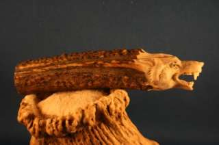3D Snarling Wolf Head Carved Antler Knife Handle Art