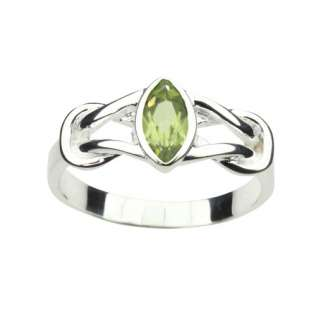 PERIDOT & 925 STERLING SILVER RING CELTIC DESIGN