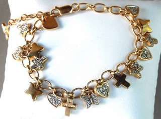 Vintage  Gold Over Sterling Silver Heart Star & Butterflies Charm