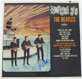 PAUL MCCARTNEY & RINGO STARR BEATLES SIGNED ALBUM COVER W/ VINYL PSA