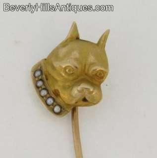 Beautiful Antique 14k Art Deco Stick Pin Boxer Dog Head 5 Pearls