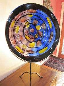 art glass display plate 23 w/ wall mount w/ display stand Viz