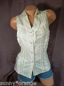 Beige button up crochet trim S M v neck shirt top blouse tank career
