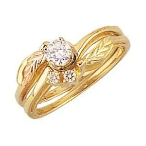 gold Black Hills Gold Diamond Engagement and Wedding Ring Set: Jewelry