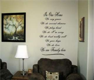 Art Words Decals Custom Stickers Love Family In our home We say Grace