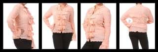 Womens Plus Size Button Down Ruffled Top Long Sleeve Shirt 1X 2X 3X
