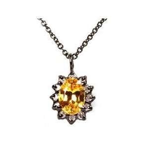 14k Blacken White Gold Yellow Sapphire & Diamond Pendant Necklace Ct