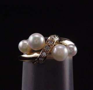 DAZZLING ESTATE MIKIMOTO 18K DIAMOND PEARL CLUSTER RING