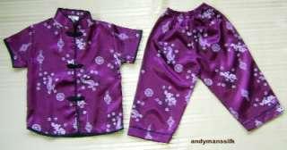 Thai Silk Pyjamas / Kids / Baby Unisex PJs / Plum