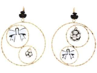 Betsy Johnson First Date Bow/Disco Ball Hoop Earrings