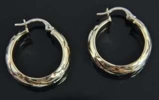 Estate Vtg Milor 14K Gold Quilted Texture Hoop Earrings