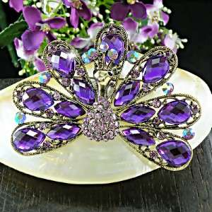 Peacock with Purple & Lilac Swarovski Crystal Brooch/Pin BH221