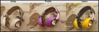 Korean Fashion Crystal Rhinestone Earphone Headphone Ring 3 colors