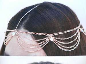 GOLD HEAD METAL CHAIN FASHION JEWELRY GRECIAN CIRCLET BIG SILVER BEADS